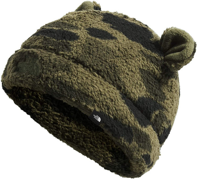 Infant The North Face Bear Beanie in New Taupe Green Duck Camo Print from the front