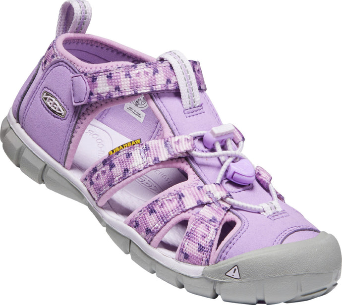 Big Kids' KEEN Seacamp 2 CNX Closed Toe Sandal in African Violet/Lavender Fog from the front view
