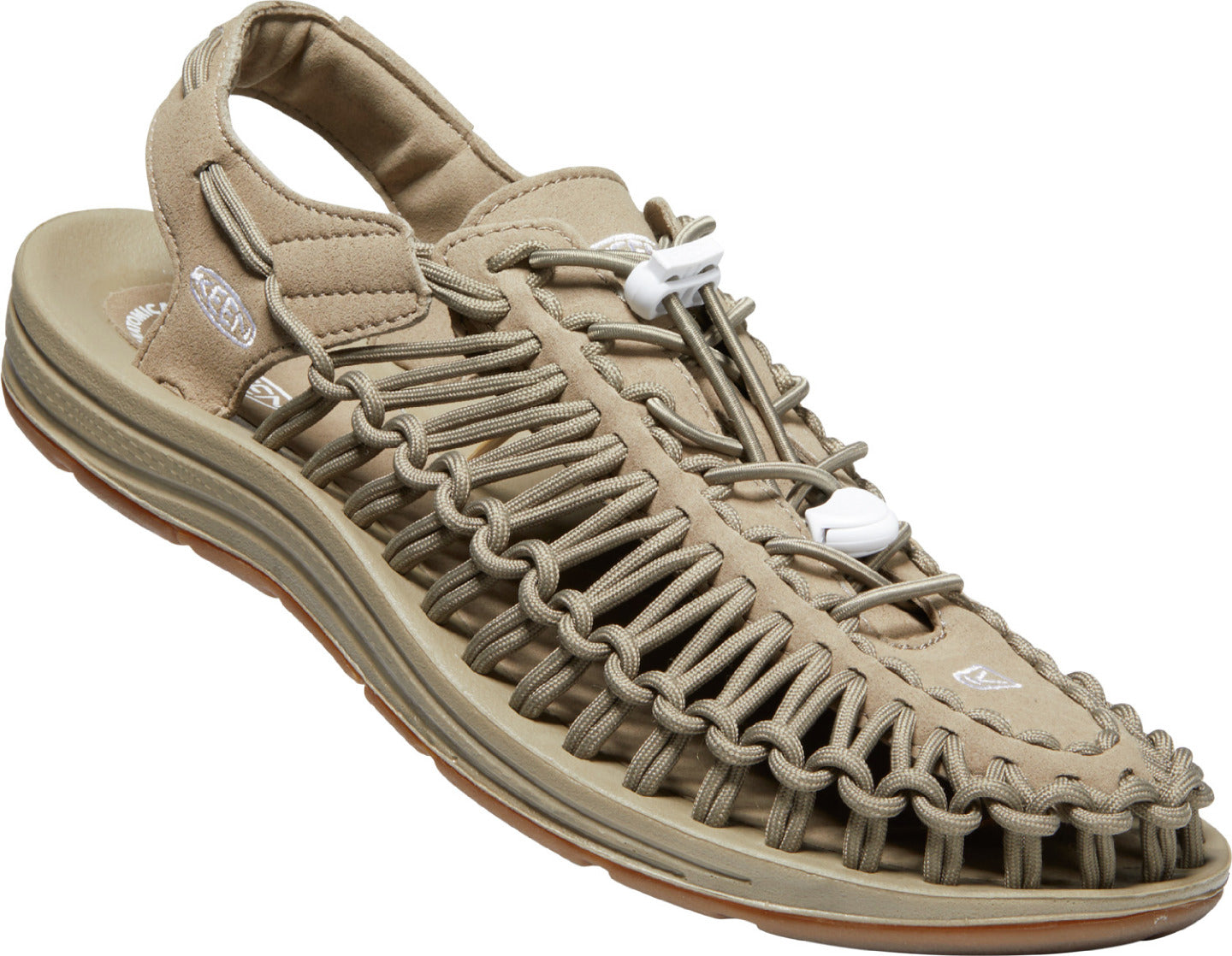 Men's KEEN Uneek Classic Two Cord Sandal in Timberwolf/Plaza Taupe from the front view