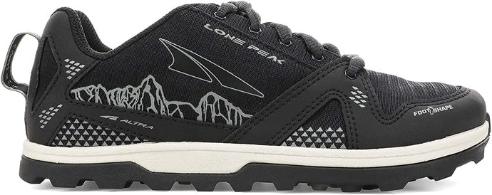 Altra Kid's Youth Lone Peak Trail Running Shoe in Black from the side