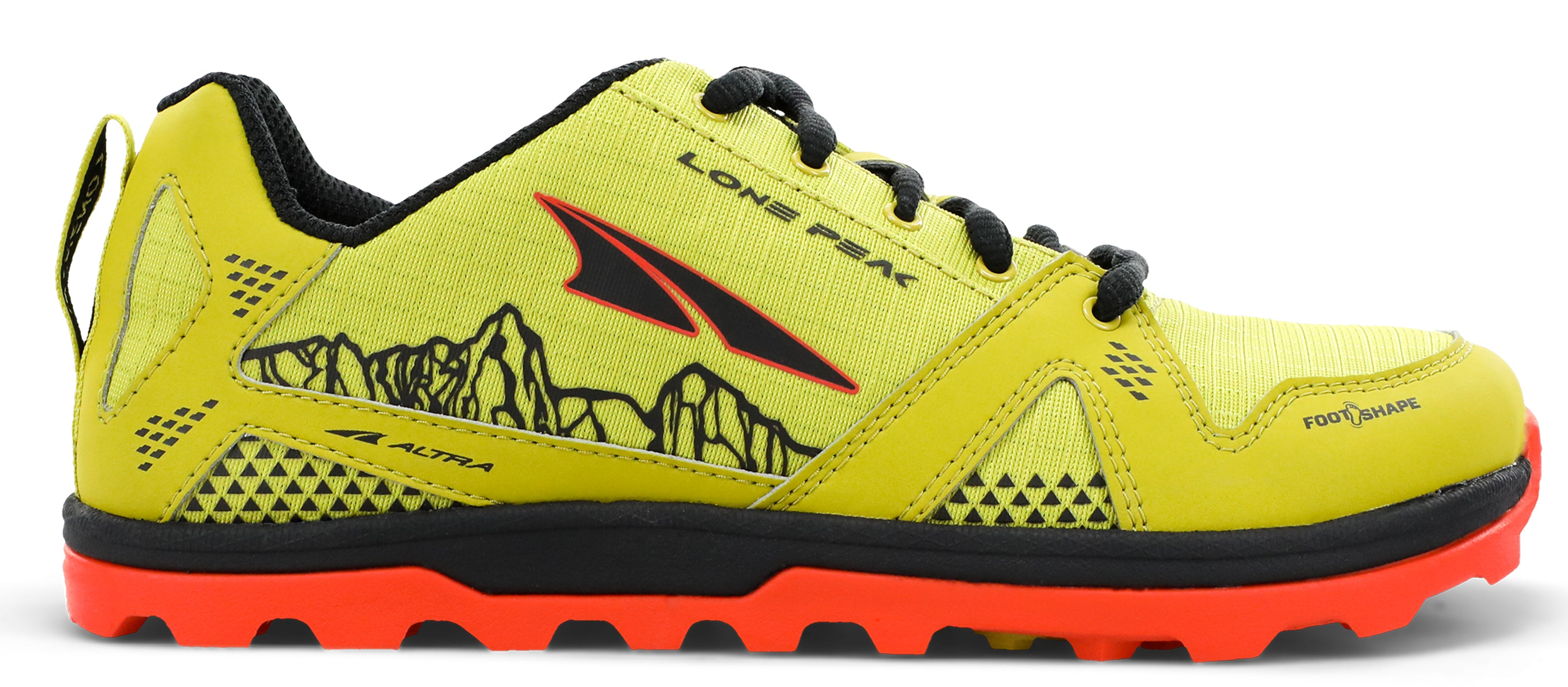 Altra Kid's Youth Lone Peak Trail Running Shoe in Lime from the side