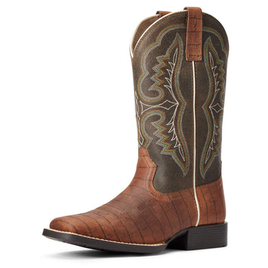 Kids' Ariat Ace Western Boot in Cognac Croc Print/Brown