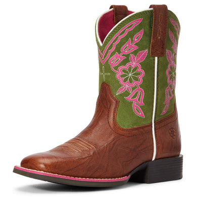 Kids' Ariat Cattle Cate Western Boot in Copper Penny/Green