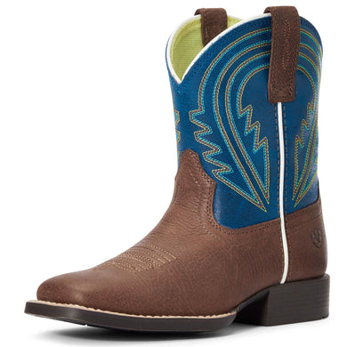 Kids' Ariat Lil' Hoss Western Boot in Chocolate/Navy