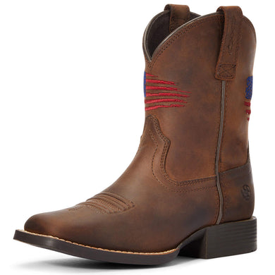 Kids' Ariat Patriot II Western Boot in Distressed Brown