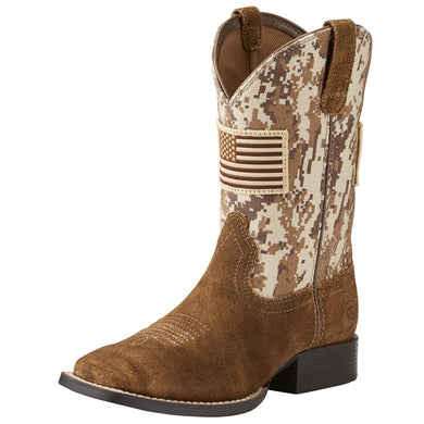 Kids' Ariat Patriot Western Boot in Antique Mocha/ Sand Camo Print