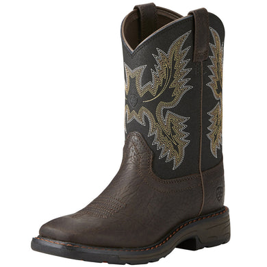 Kids' Ariat WorkHog Wide Square Toe Boot in Bruin Brown
