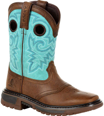 Big Kid's Rocky Original Ride FLX Western Boot in Saddle Brown and Teal