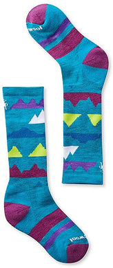Kids' Smartwool Wintersport Mountain Socks in Capri from the front view