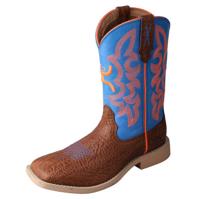Kid's Twisted X Hooey Western Boot in Cognac Bullhide & Neon Blue from the front