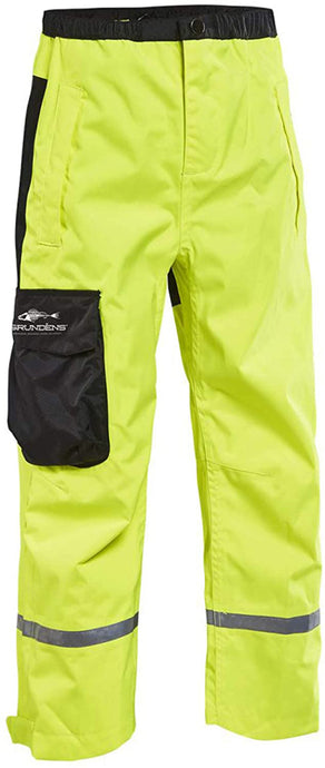 Kids Weather Watch Pant in Hi Vis Yellow color from the front view