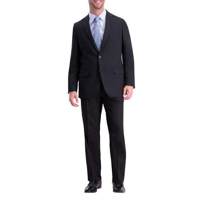 Men's Haggar Active Series Herringbone Classic Fit Suit Jacket in Black from the front view
