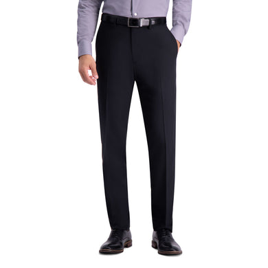 Men's Haggar Active Series Herringbone Slim Fit Flat Front Suit Pant in Black from the front view