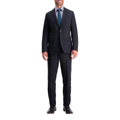 Men's Haggar Active Series Herringbone Slim Fit Suit Jacket in Black from the front view