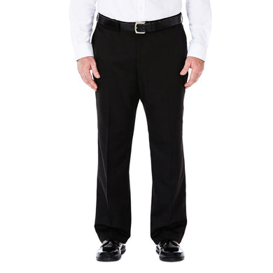 Men's Haggar Big and Tall Cool 18 Classic Fit Flat Front Pant in Black from the front view
