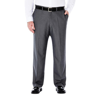 Men's Haggar Big and Tall Cool 18 Classic Fit Heather Solid Flat Front Pant in Graphite from the front view