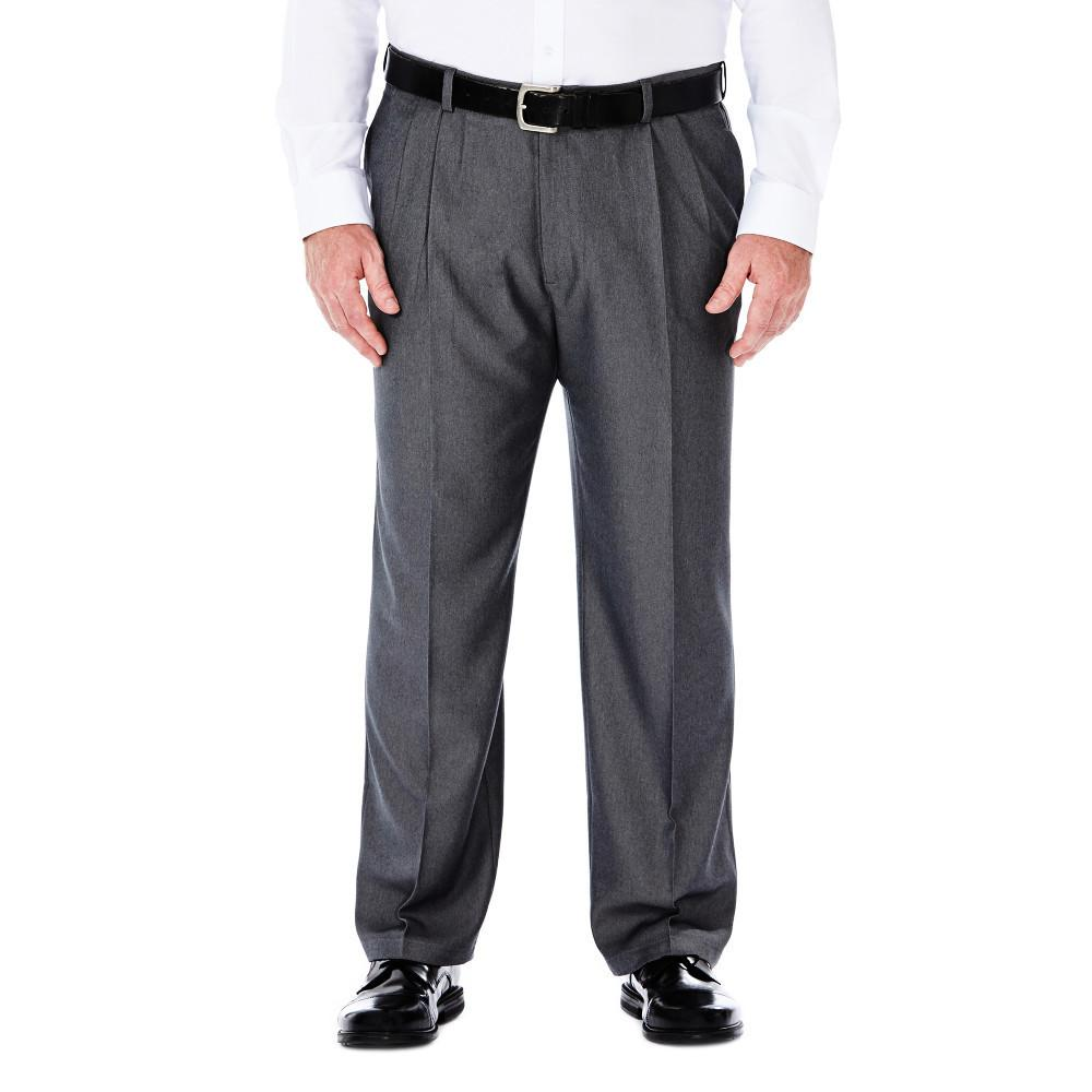 Men's Haggar Big and Tall Cool 18 Classic Fit Heather Solid Pleated Front Pant in Graphite from the front view