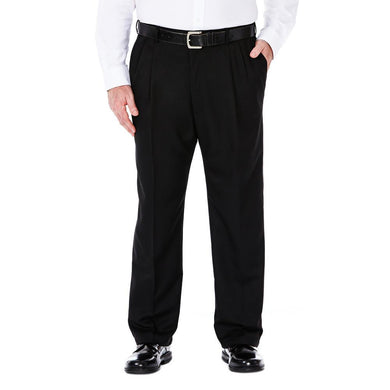 Men's Haggar Big and Tall Cool 18 Classic Fit Pleated Front Pant in Black from the front view