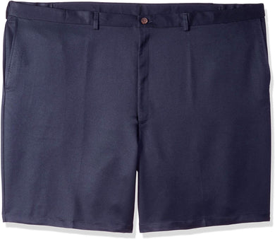 Men's Haggar Big and Tall Cool 18 Regular Fit Flat Front Short in Navy from the front view
