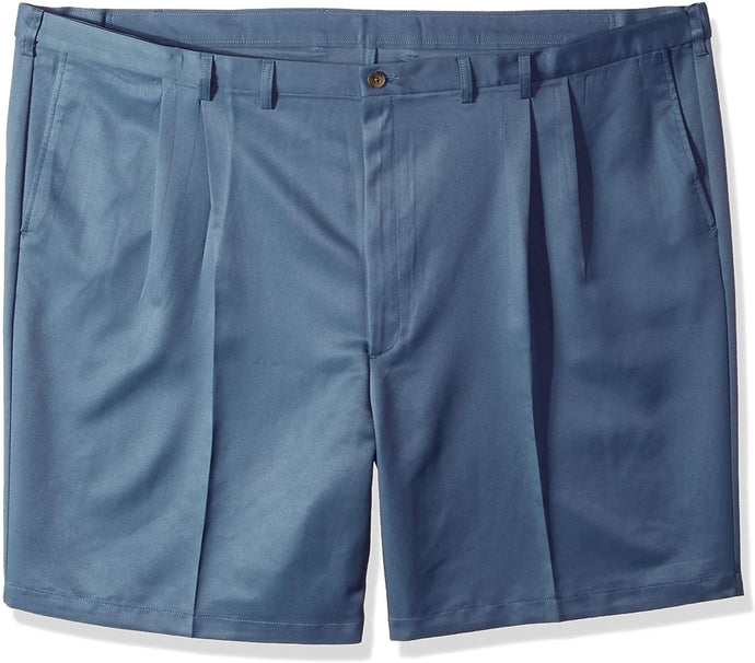 Men's Haggar Big and Tall Cool 18 Regular Fit Pleated Front Short in Cadet from the front view