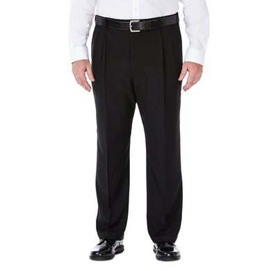 Men's Haggar Big and Tall E-CLO Stria Classic Fit Pleated Front Dress Pant in Black from the front view