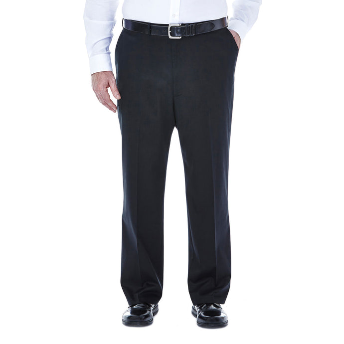 Men's Haggar Big and Tall Premium No Iron Classic Fit Flat Front Khaki Pant in Black from the front view