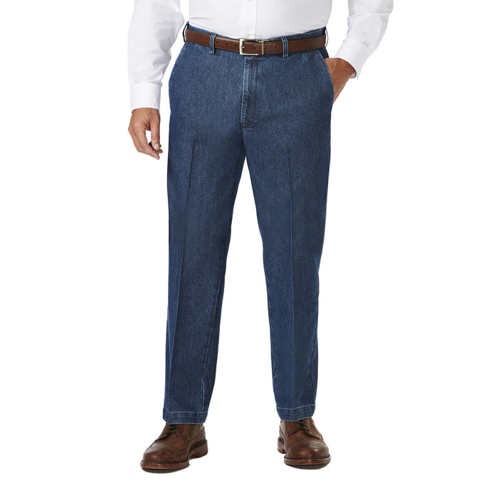 Men's Haggar Big and Tall Stretch Classic Fit Denim Flat Front Trouser in Medium Blue from the front view