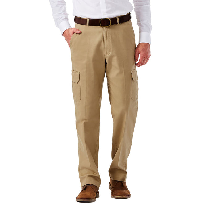 Men's Haggar Big and Tall Stretch Comfort Classic Fit Flat Front Cargo Pant in Khaki from the front view