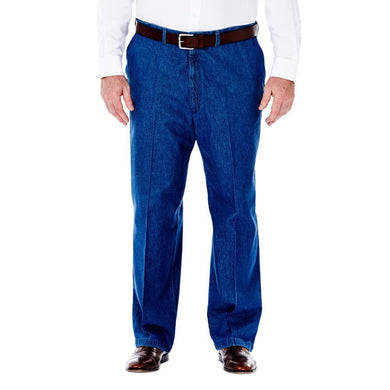 Men's Haggar Big and Tall Work to Weekend Classic Fit Flat Front Denim Pant in Light Stone from the front view