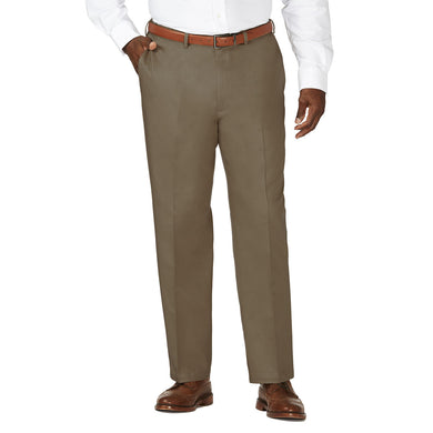 Men's Haggar Big and Tall Work to Weekend Classic Fit Flat Front Khaki Pant in Bark from the front view