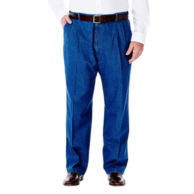 Men's Haggar Big and Tall Work to Weekend Classic Fit Pleated Front Denim Pant in Light Stone from the front view