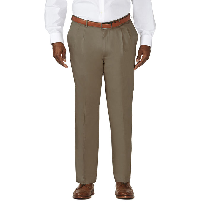 Men's Haggar Big and Tall Work to Weekend Classic Fit Pleated Front Khaki Pant in Bark from the front view