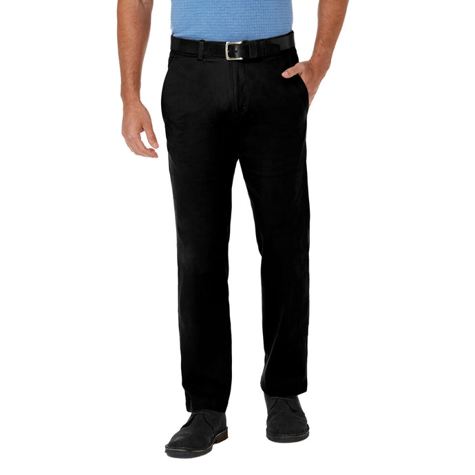 Men's Haggar Coastal Comfort Straight Fit Flat Front Chino Pant in Black from the front view