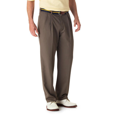 Men's Haggar Cool 18 Classic Fit Pleated Front Pant in Bark from the front view