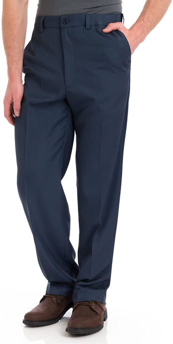 Men's Haggar Cool 18 Heather Solid Classic Fit Flat Front Pant in Heather Blue from the front view