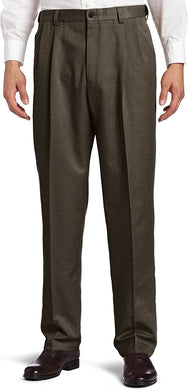 Men's Haggar Cool 18 Heather Solid Classic Fit Pleated Front Pant in Heather Brown from the front view