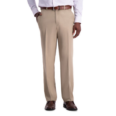 Men's Haggar Cool 18 Pro Classic Fit Flat Front Pant in Tan from the front view
