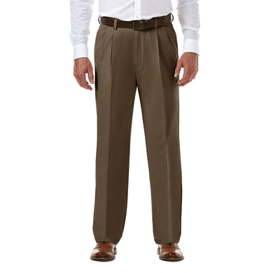 Men's Haggar Cool 18 Pro Classic Fit Pleated Front Pant in Toast from the front view