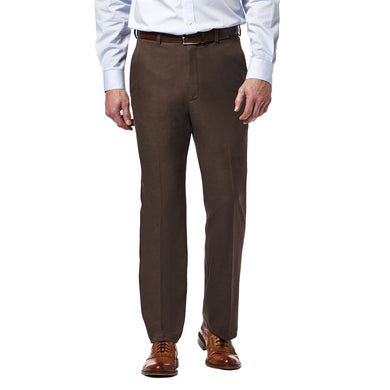 Men's Haggar Cool 18 Pro Heather Classic Fit Flat Front Pant in Brown Heather from the front view