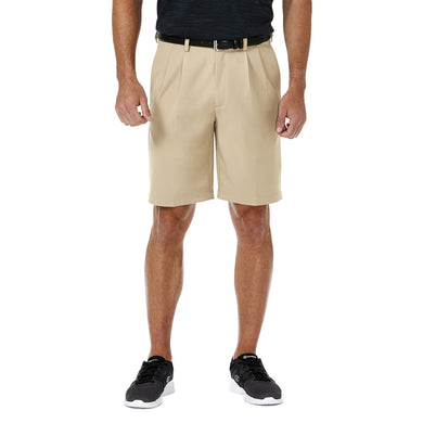 Men's Haggar Cool 18 Pro Regular Fit Pleated Front Short in Khaki from the front view