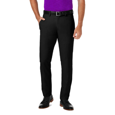 Men's Haggar Cool 18 Pro Slim Fit Flat Front Pant in Black from the front view