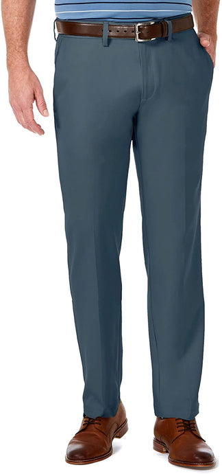 Men's Haggar Cool 18 Pro Straight Fit Flat Front Pant in Dark Teal from the front view