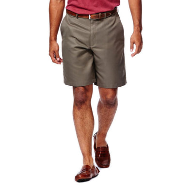 Men's Haggar Cool 18 Regular Fit Flat Front Short in Bark from the front view