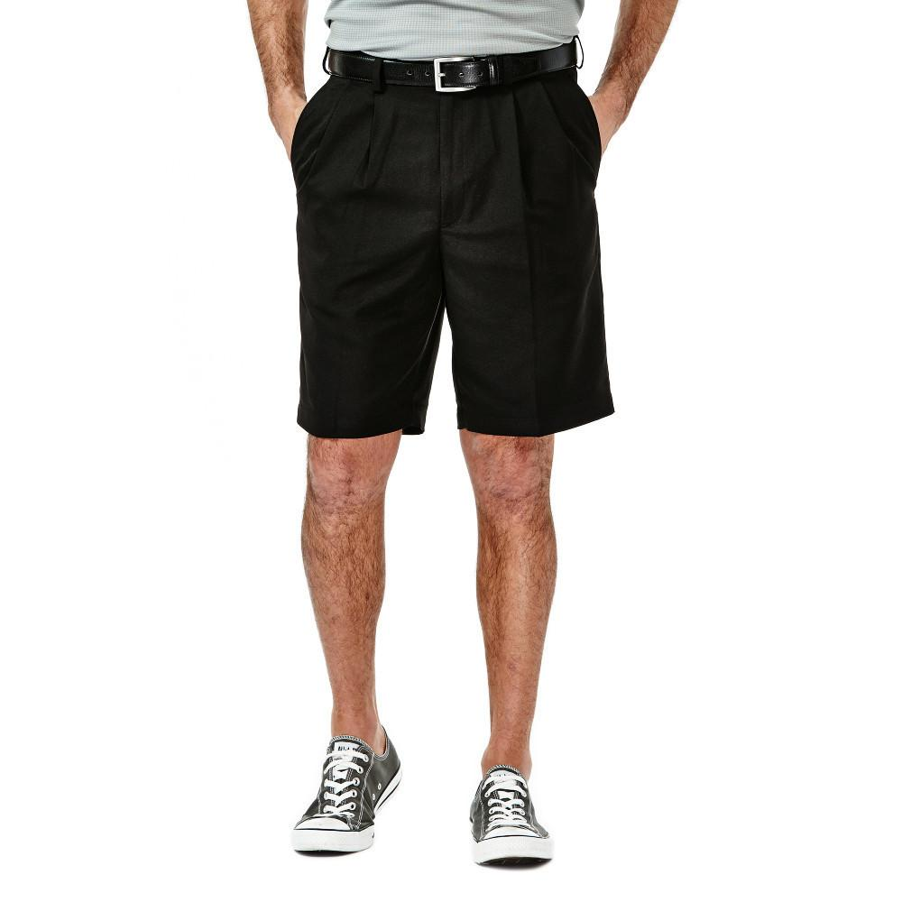 Men's Haggar Cool 18 Regular Fit Pleated Front Short in Black from the front view