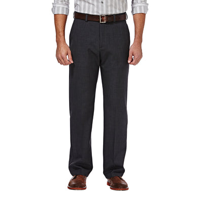 Men's Haggar Cool 18 Stria Classic Fit Flat Front Pant in Dark Grey from the front view