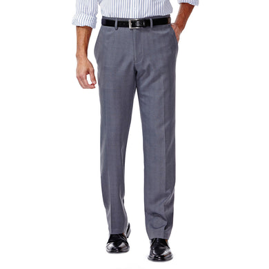 Men's Haggar E-CLO Stretch Slim Fit Flat Front Heathered Plaid Slack in Medium Grey from the front view