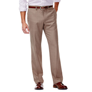 Men's Haggar E-CLO Stretch Slim Fit Flat Front Heathered Plaid Slack in Medium Taupe from the front view