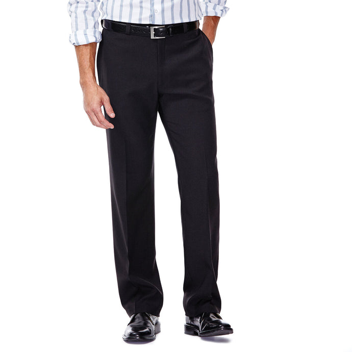 Men's Haggar E-CLO Stria Classic Fit Flat Front Dress Pant in Black from the front view