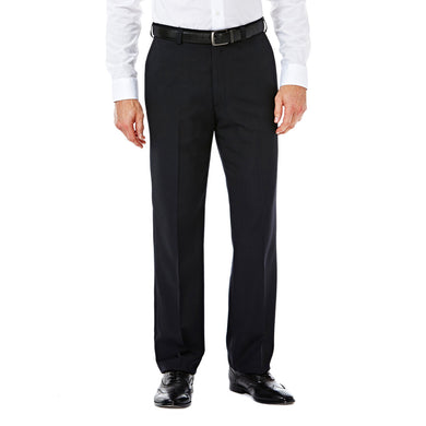 Men's Haggar E-CLO Stria Straight Fit Flat Front Heather Dress Pant in Black from the front view