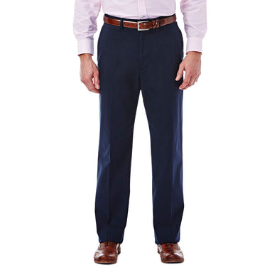 Men's Haggar Expandomatic Stretch Classic Fit Flat Front Casual Pant in Navy from the front view